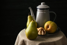 Still Life With Pears On Table...