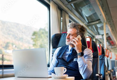 Fototapeta Mature businessman with smartphone travelling by train. obraz na płótnie
