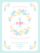 Cute Vintage One Invitation Card With Hand Drawn Flowers
