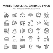 Recycling Flat Line Icons. Pol...