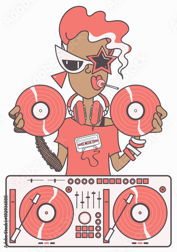 Fotografia  Cool eighties style DJ girl at mixer table holding two vinyl records, isolated v