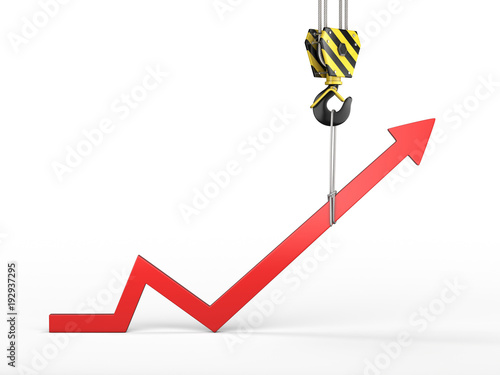 Fotografía  3D rendering of a crane hook with a growth chart