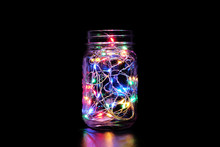 Mason Jar Colorful Fairy Light In The Dark