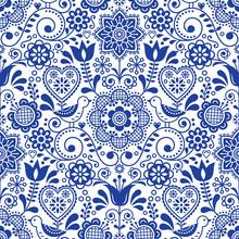 Seamless Folk Art Vector Patte...