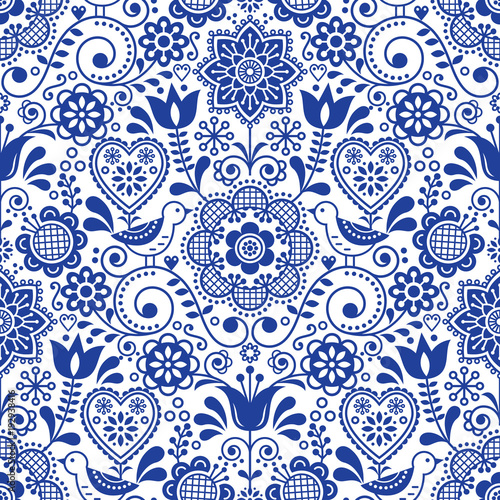 Seamless folk art vector pattern with birds and flowers, Scandinavian navy blue repetitive floral design