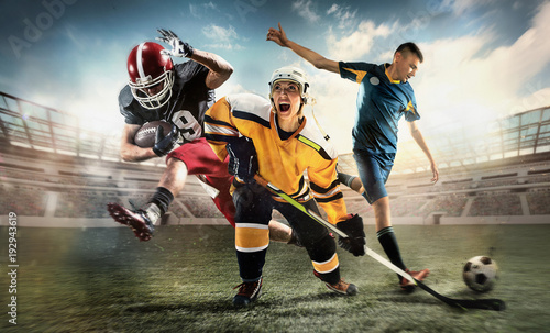 Fototapety Sport  multi-sports-collage-about-ice-hockey-soccer-and-american-football-screaming-players-at-stadium