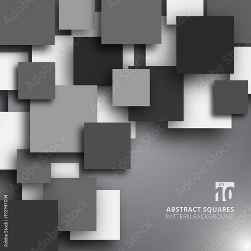 Fototapeta Abstract overlapping square black and white color background. obraz