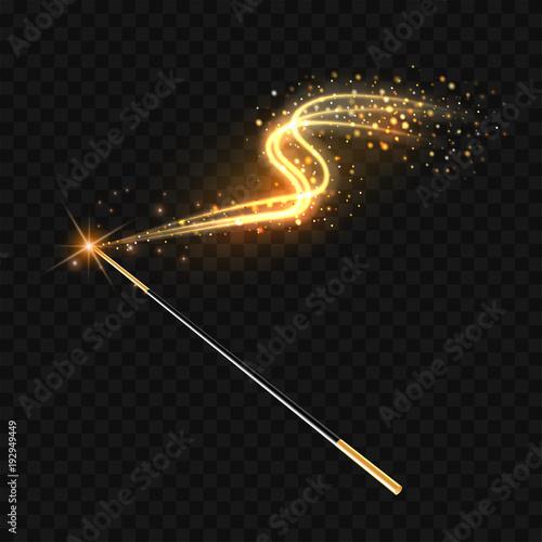 Fototapeta Magic wand with magical gold sparkle trail