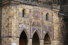 Detail Of The Mosaic On The Walls Of Prague Castle