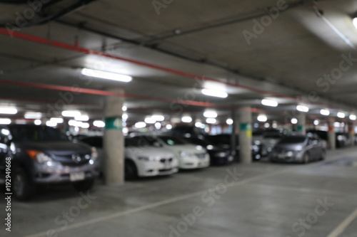Abstract Blurred Image Background Of Parking Area Ground Floor For