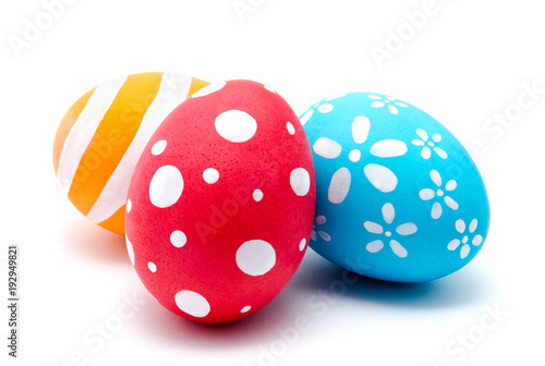 Perfect colorful handmade easter eggs isolated Wallpaper Mural