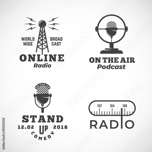 Cuadros en Lienzo Online Radio and Microphone Abstract Vector Emblems Set