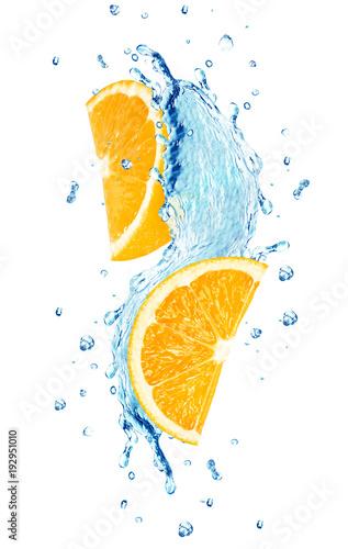 Printed kitchen splashbacks orange splash water isolated on white