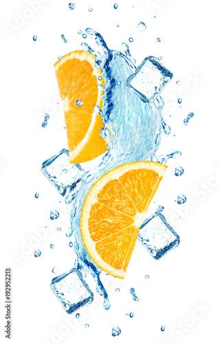 Printed kitchen splashbacks orange splash water ice cube isolated on white