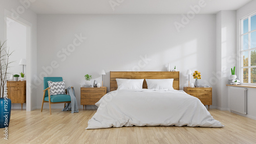 Fotografia  Scandinavian interior of bedroom concept design,blue lounge chair with wood beds
