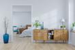 Leinwanddruck Bild - Scandinavian interior concept ,wood cabinet on white room and white bedroom  design ,empty room ,3d rendering