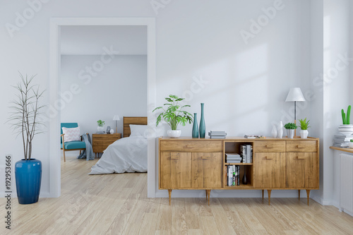 Valokuva  Scandinavian interior concept ,wood cabinet on white room and white bedroom  des