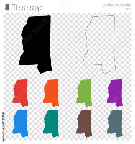 Mississippi State Map Outline.Mississippi High Detailed Map Us State Silhouette Icon Isolated