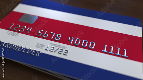 Plastic Bank Card Featuring Flag Of Costa Rica National Banking System Related Rendering