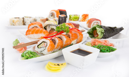 Japanese Sushi over white background.