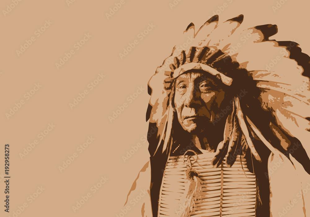 Fototapeta Red Cloud - chef indien - portrait - personnage célèbre - Amérique - guerrier - Sioux