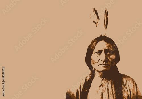 Fotografie, Obraz  Sitting Bull - chef indien - portrait - personnage célèbre - Amérique - guerrier