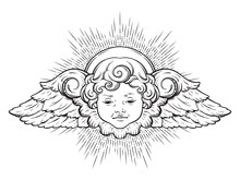Cherub Cute Winged Curly Smili...