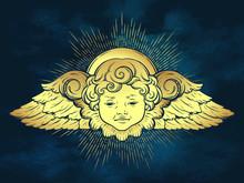 Gold Cherub Cute Winged Curly ...
