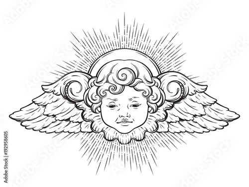 Leinwand Poster Cherub cute winged curly smiling baby boy angel with rays of linght isolated over white background