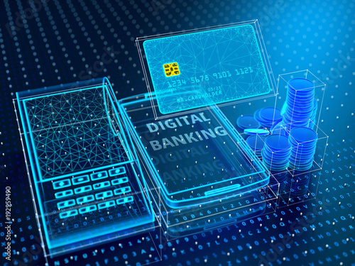 Technology of modern digital banking. Credit card, smartphone, POS terminal, stack of coins in blue virtual space. 3d illustration.