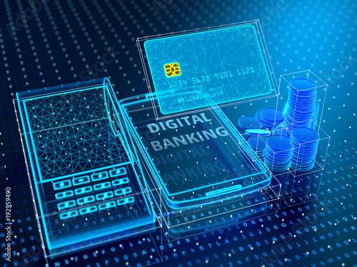 Fotografía  Technology of modern digital banking