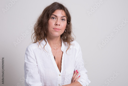 1683d0b6a0e beautiful young girl in jeans and shirt. white underwear. long hair.  troubled skin