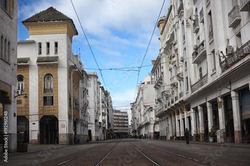 Obraz na plátne Casablanca, Morocco - January 14 2018: The street view of Boulevard Mohammed V, the main pedestrian street, Casablanca