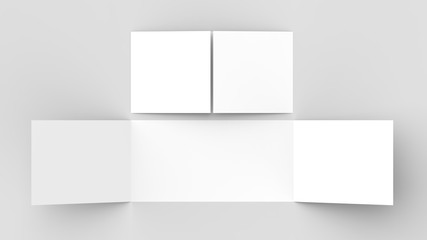 Horizontal - landscape gate fold brochure mock up isolated on soft gray background. 3D illustrating.