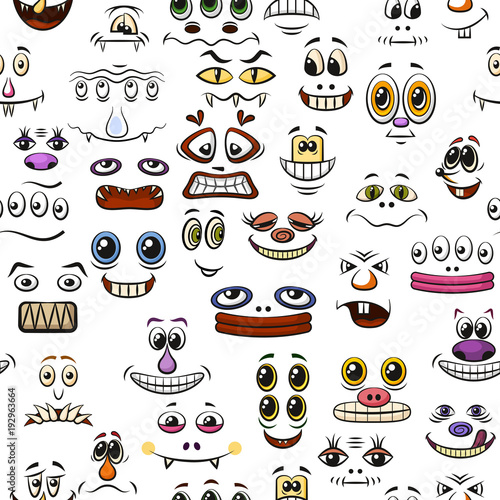 seamless background with monster faces different eyes mouths