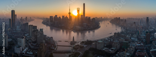 Panoramic Aerial View of Shanghai Skyline at Sunrise. Lujiazui Financial District. China.