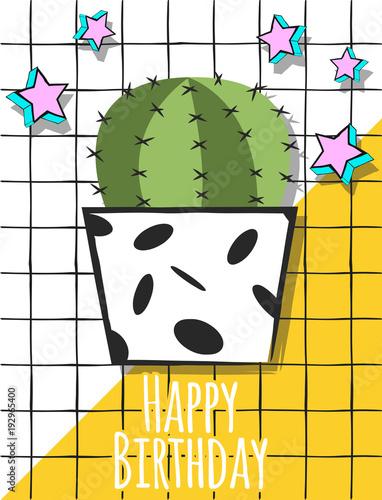 Foto op Aluminium Retro sign cactus birthday 2