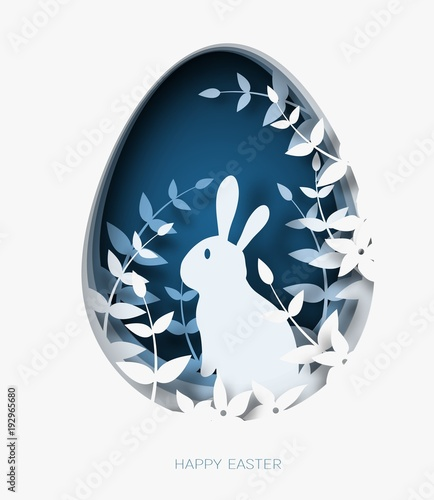 3d abstract paper cut illustration of colorful paper art easter rabbit, grass, flowers and blue egg shape.