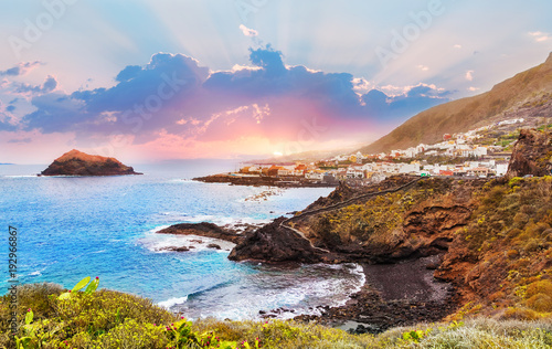 Poster Canary Islands Beautiful sunset over Garachico village, seaside in summer holiday in Tenerife island, Spain