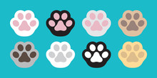 Cat Paw Vector Dog Paw Icon Logo Cat Breed Doodle Illustration Character Cartoon