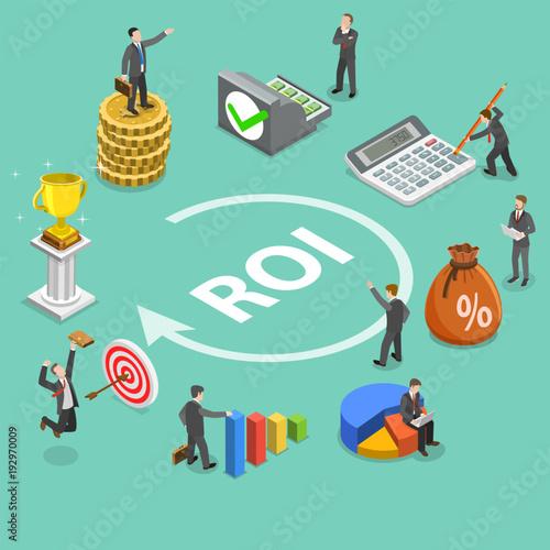 Fotografía  Flat isometric vector concept of return on investment, roi, digital marketing, marketing analysis, profit