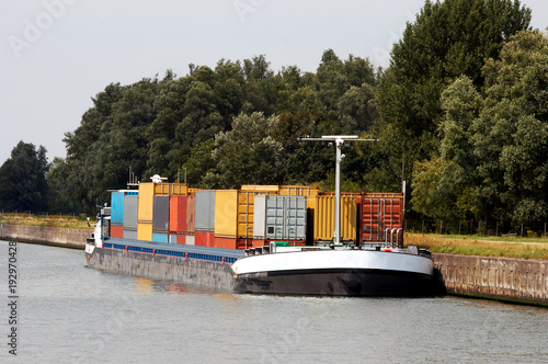 Container barge Canvas Print