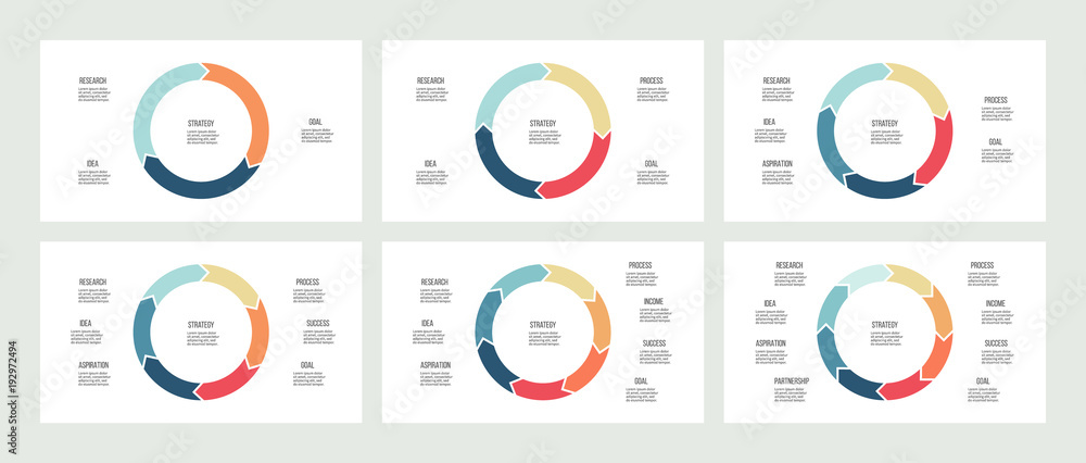 Fototapety, obrazy: Business infographics. Circles with 3, 4, 5, 6, 7, 8 steps, arrows. Vector templates.