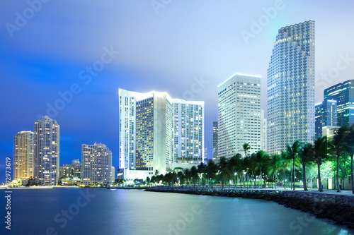 Skyline of city downtown and Brickell Key, Miami, Florida