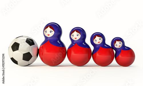 Photo Russian Babushka dolls with football ball