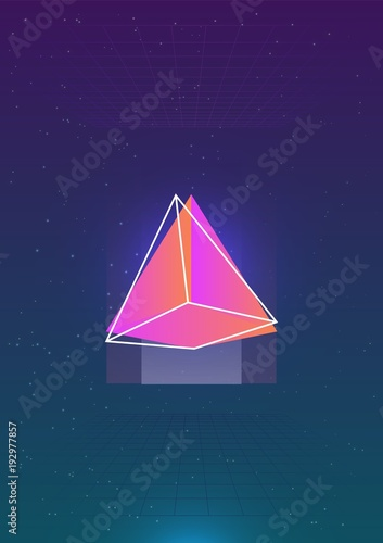 Photo Abstract vertical backdrop with glowing bright colored cosmic pyramid and its outline against outer space with stars and grids on background