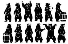 Illustration Of Bears Standing...