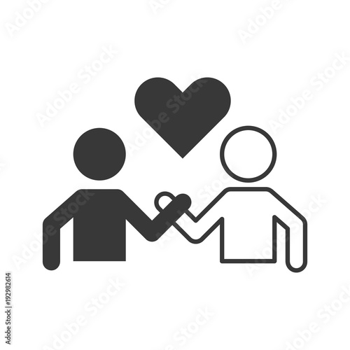 Pictogram of people holding hand and heart, friendship