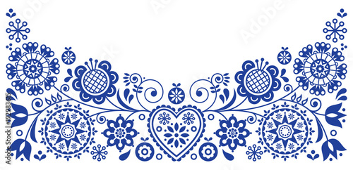 Folk art retro vector greeting card design, floral ornament inspired by Scandina Fotobehang