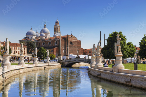 Padua, Prato della Valle, view from the canal to the Basilica of Santa Giustina, Wallpaper Mural